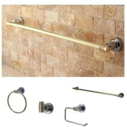 Chrome/ Polished Brass 4-piece Bathroom Accessory Set