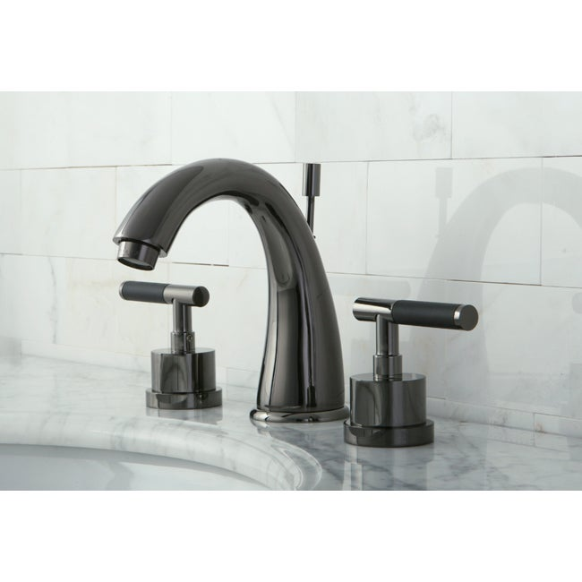 Black Widespread Bathroom Faucet : Black Nickel Widespread Bathroom Faucet with Horizontal Handles ...