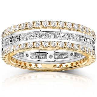 Annello 14k Gold 2ct TDW Stackable 3-Piece Diamond Eternity Band Set (H-I, I1-I2)