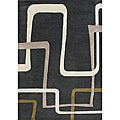 Alliyah Handmade New Zeeland Blend Black Blend Wool Rug (5' x 8')