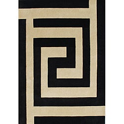 Alliyah Handmade New Zeeland Blend Black  Wool Rug (8' x 10')