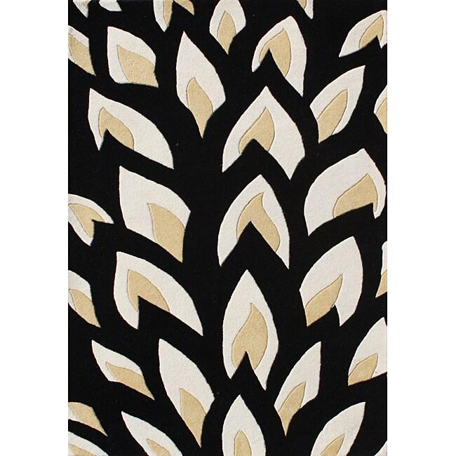Alliyah HandMade Tufted Flame Inspiration Black Wool Rug (8' x 10')