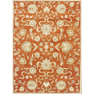 Hand-tufted Delhi Rusty Orange/ Gold New Zealand Wool Rug 5x8