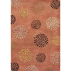 Hand-tufted Rust Flower Patch New Zealand Wool Rug (5' x 8')