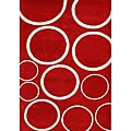Alliyah Handmade New Zeeland Blend Red Wool Rug (5' x 8')