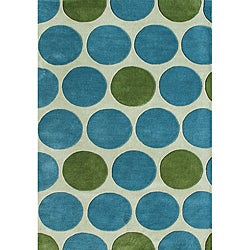 Alliyah Handmade New Zeeland Blend Green Wool Rug (5' x 8')