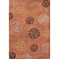 Handmade Rust Flower Patch Wool Rug (8' x 10')