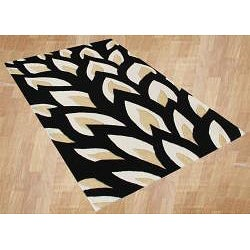 Handmade Flame Inspiration Black Wool Rug (5' x 8')