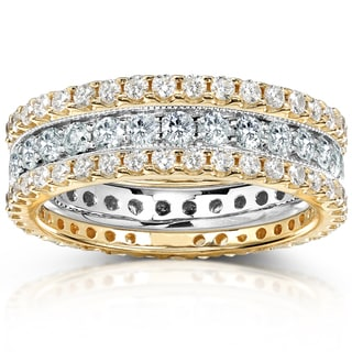Annello 14k Gold 2ct TDW Round-cut Diamond 3-piece Stackable Eternity Ring Set (H-I, I1-I2)