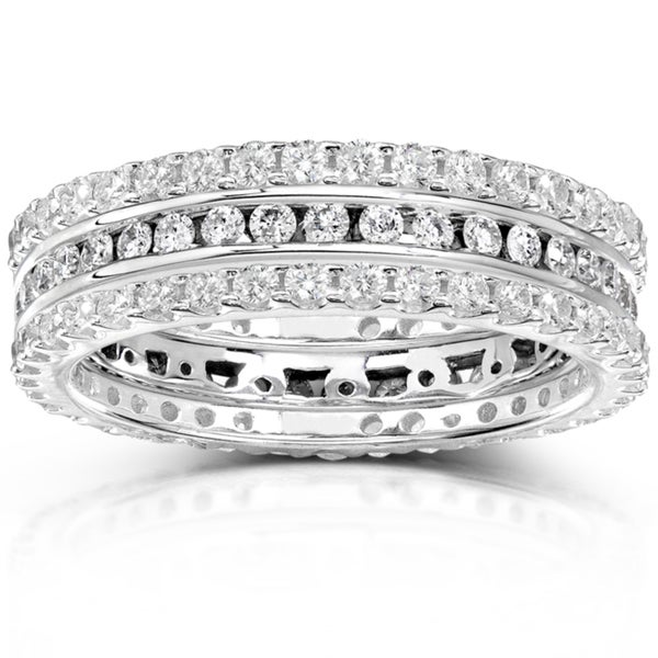 Annello 14k Gold 1 1/2ct TDW Diamond 3-piece Stackable Eternity Ring Set (H-I, I1-I2)