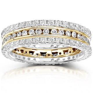 Annello 14k Gold 1 1/2ct TDW Channel/ Prong-set Diamond 3-piece Stackable Eternity Ring Set (H-I, I1-I2)