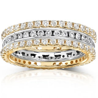 Annello 14k Two-tone Gold 1 1/2ct TDW Channel/ Prong-set Diamond 3-piece Stackable Eternity Ring Set (H-I, I1-I2)