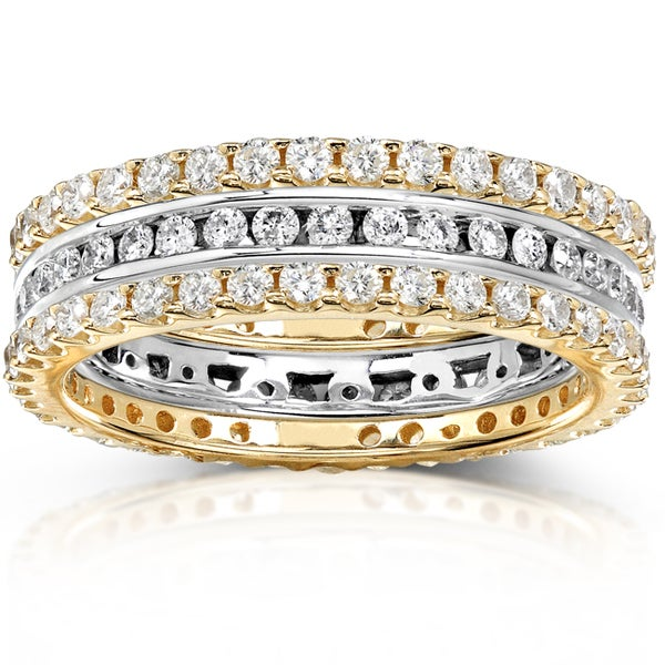 Annello 14k Two-tone Gold 1 1/2ct TDW Channel/ Prong-set Diamond 3-piece Stackable Eternity Ring Set