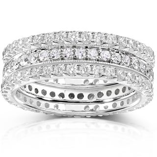 Annello 14k White Gold 1 1/2ct TDW Diamond 3-piece Stackable Eternity Ring Set (H-I, I1-I2)