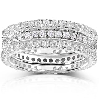Annello 14k White Gold 1 1/2ct TDW Diamond Stackable Ring Set (H-I, I1-I2)