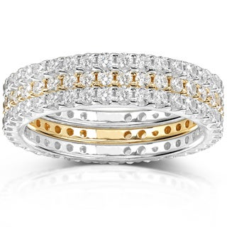 Annello 14k Two-tone Gold 1 1/2ct TDW Pave/ Prong-set Diamond 3-piece Stackable Eternity Ring Set (H-I, I1-I2)