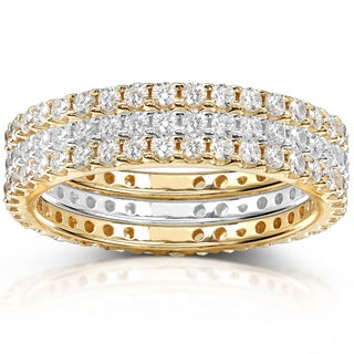 Annello 14k Yellow Gold 1 1/2ct TDW Diamond 3-piece Stackable Eternity Ring Set (H-I, I1-I2)