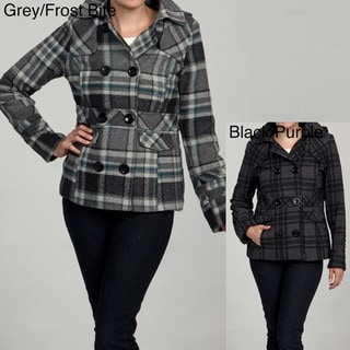 Grane Juniors Plaid Hooded Pea Coat