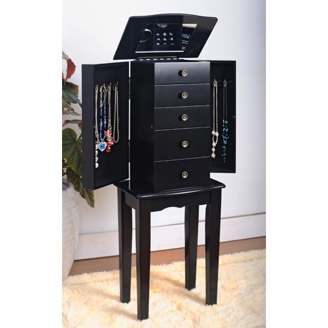 Contemporary Style Black Jewelry Armoire Chest - 13861931 ...