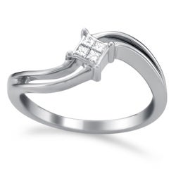14k White Gold 1/10ct TDW Princess Diamond Ring (H-I, I2)