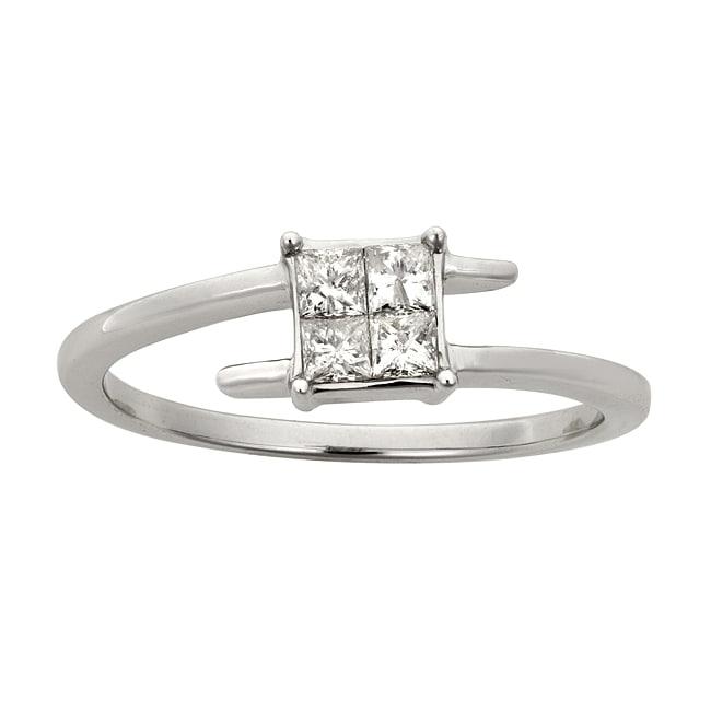 Montebello 14k White Gold 1/3ct TDW Princess Cut Diamond Twist Ring (H-I, I2)