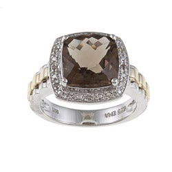 14k Yellow Gold and Silver Smokey Quartz and Diamond Accent Ring