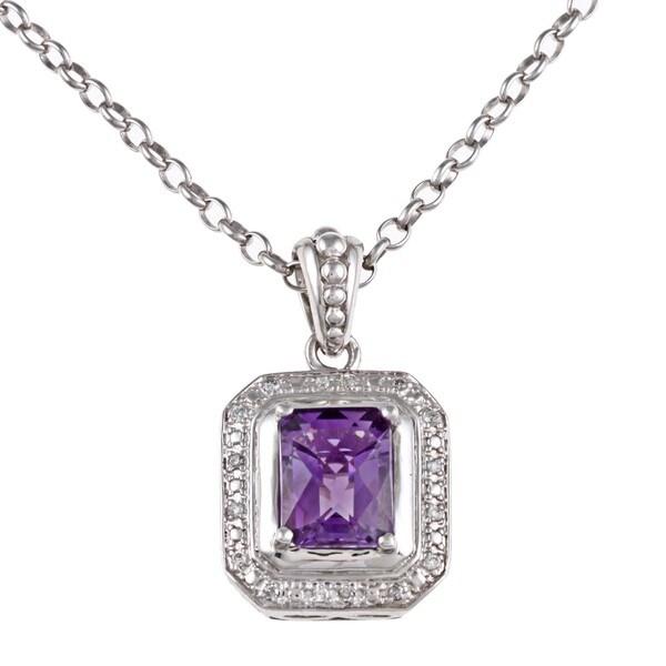 Sofia Sterling Silver Amethyst and 1/10ct TDW Diamond Necklace (I-J, I2-I3)