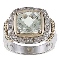 14k Gold/ Silver Green Amethyst and 1/10ct TDW Diamond Ring (J-K, I1-I2)