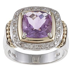 14k Gold/ Silver Amethyst and 1/10ct TDW Diamond Ring (J-K, I1-I2)