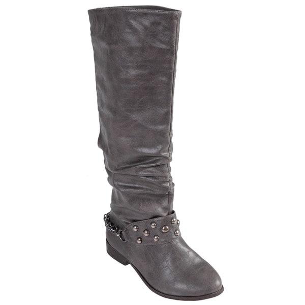 Journee Collection Women's 'Esmerelda-36' Stud Detail Slouchy Boots