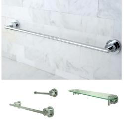 Chrome-finished 3-piece Shelf and Towel Bar Bathroom Accessory Set