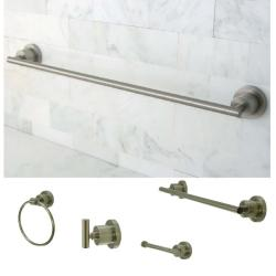 Satin-Nickel-Finish Four-Piece Bathroom Accessory Set
