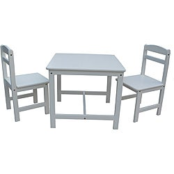 Juvenile Linen White Table with Two Chairs Set