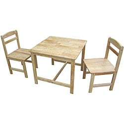 Juvenile Natural Table with Two Chairs Set