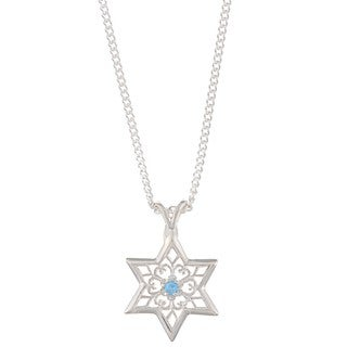 Sterling Silver Blue Topaz Floral Star of David Necklace