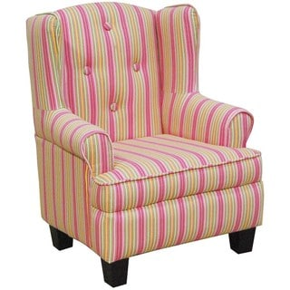 Adorable Toddler Child's Pink Stripe Wingback Bedroom Chair