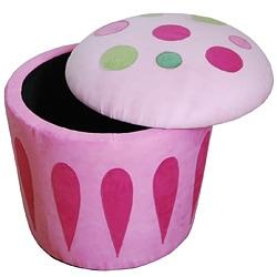 Cupcake Storage Ottoman Pink