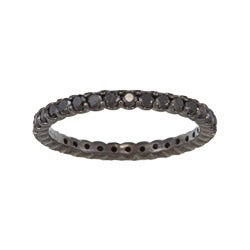 14k White Gold 1ct TDW Round-cut Black Diamond Eternity Band