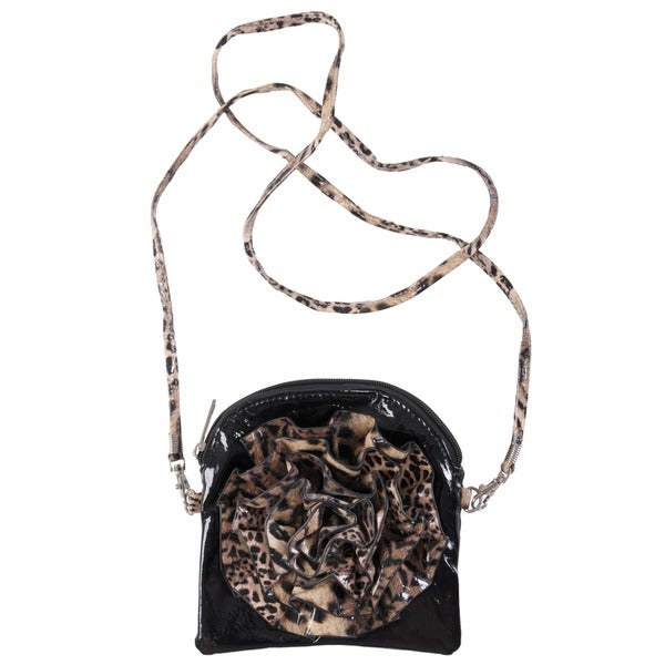 Journee Collection Small Animal-Print Floral-Detail Fabric Cross-Body Bag