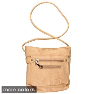 Journee Collection Genuine-Leather Lined Cross-Body Bag