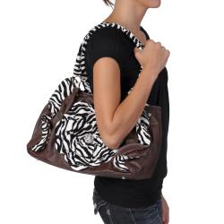 Journee Collection Women's Flower Accent Zebra Print Slouchy Satchel