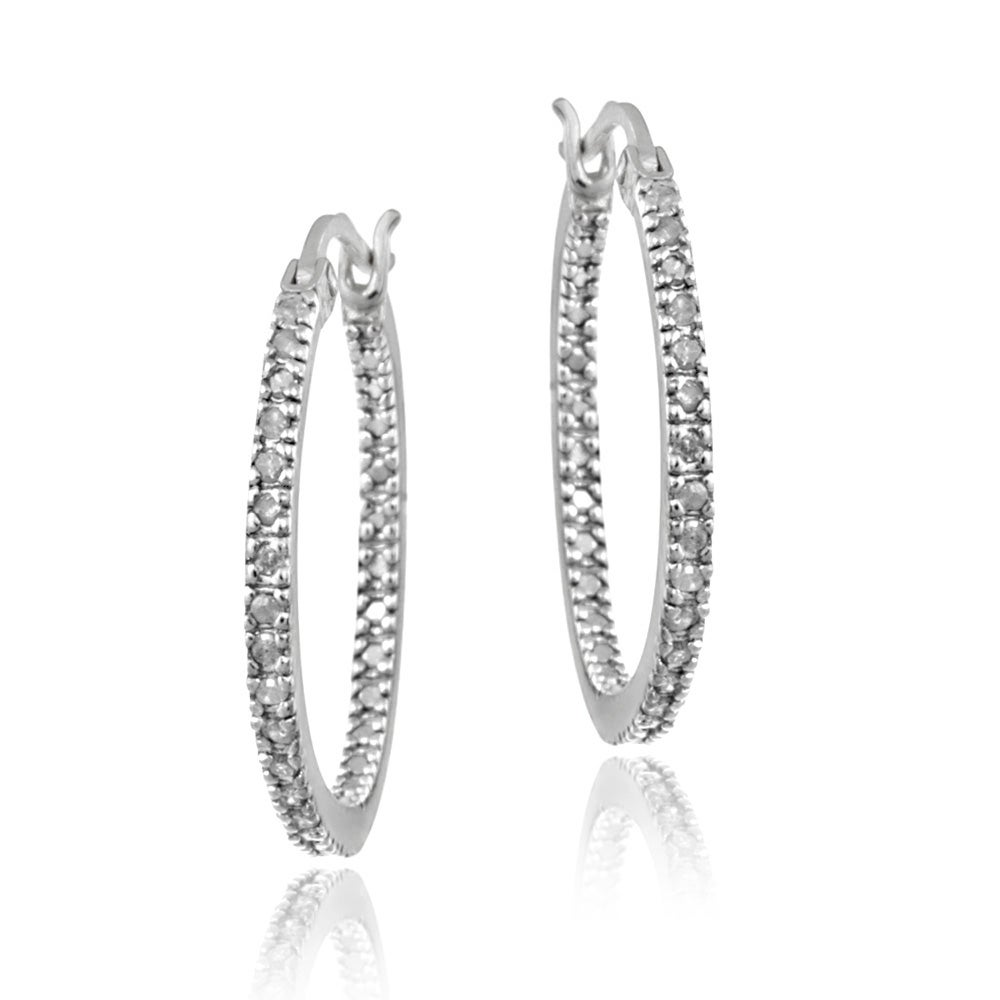 DB Designs Sterling Silver 1/4ct TDW Diamond Round Hoop Earrings (I-J, I2-I3)