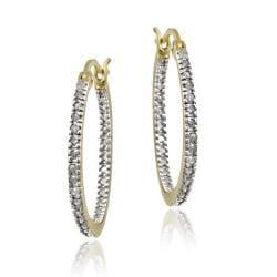 DB Designs 18k Gold over Silver 1/4ct TDW Diamond Round Hoop Earrings (I-J, I2-I3)