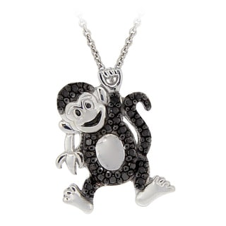 DB Designs Sterling Silver Black Diamond Accent Playful Monkey Necklace