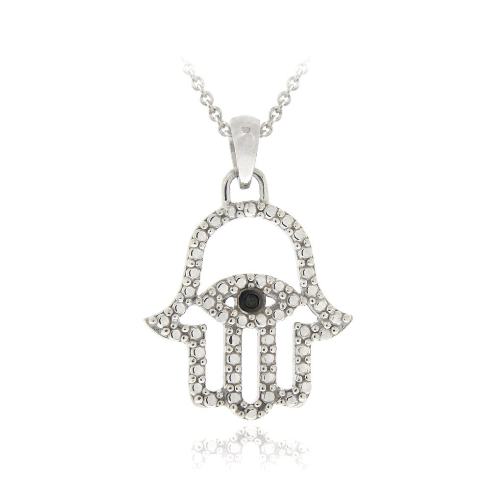 DB Designs Sterling Silver Black Diamond Accent Evil Eye Hamsa Necklace