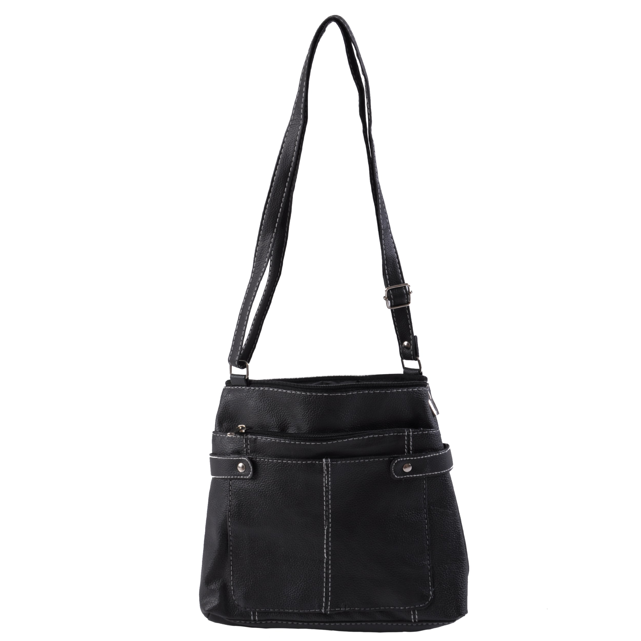 Journee Collection Genuine Leather Multi Pocket Shoulder Bag