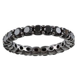 14k Gold and Black Rhodium 3 2/5ct TDW Black Diamond Eternity Band
