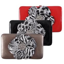 Journee Collection Women's Animal Print Flower Frame Clutch Wallet