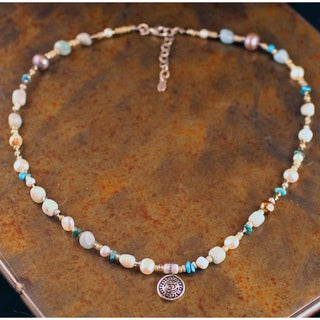 Peyote Bird Designs Pearl and Amazonite Necklace (7 mm)(China)