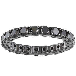 14k Gold and Black Rhodium 2 3/4ct TDW Black Diamond Eternity Band